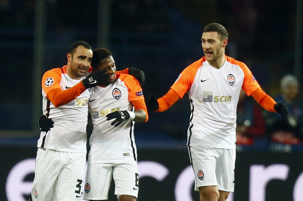 Shakhtar's Ismaily, left, celebrates with his teammates after scoring his side's second goal during the Champions League group F soccer match between