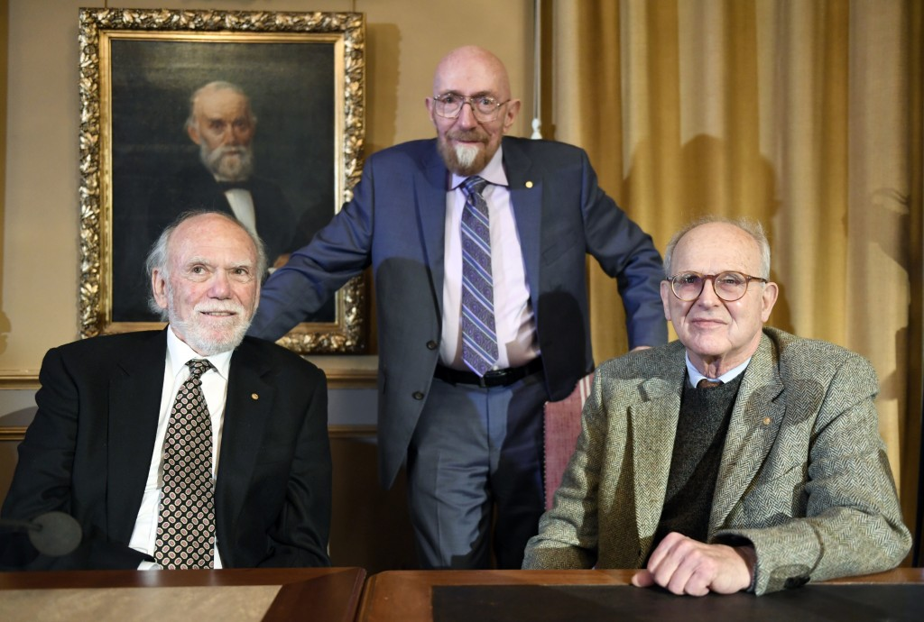Nobel Laureates in Physics 2017 from left, Barry Barish, Kip Thorne and Rainer Weiss at the Royal Academy of Science in Stockholm, Thursday Dec. 7, 20