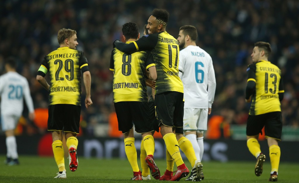 Dortmund's Pierre-Emerick Aubameyang celebrates after he scored his second goal during the Champions League Group H soccer match between Real Madrid a