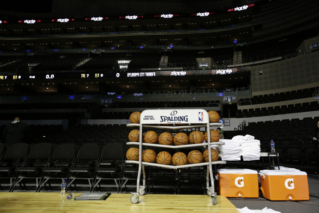 Basketballs sit on the court during a training session by the Brooklyn Nets at the Mexico City Arena in Mexico City, Wednesday, Dec. 6, 2017. The Broo