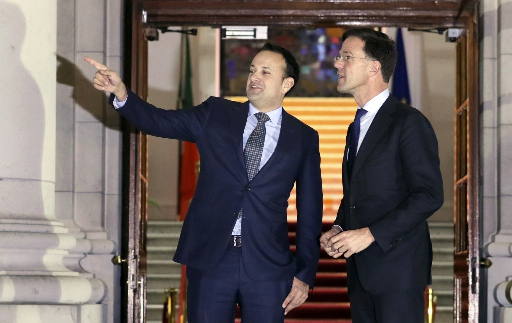 Ireland's Prime Minister Leo Varadkar, left, meets with Mark Rutte the Prime Minister of the Netherlands, at Government Buildings in Dublin, Ireland,