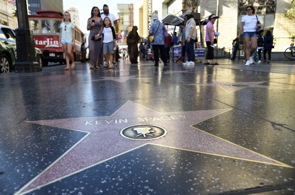 This Nov. 22, 2017 photo shows the star of actor Kevin Spacey on the Hollywood Walk of Fame in Los Angeles. The ongoing sexual harassment scandals hav