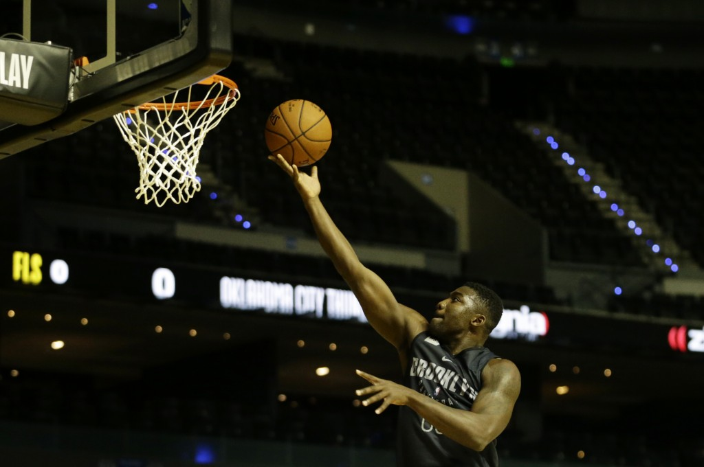 Yakuba Ouattara of the Brooklyn Nets goes to the basket during a training session at the Mexico City Arena in Mexico City, Wednesday, Dec. 6, 2017. Th