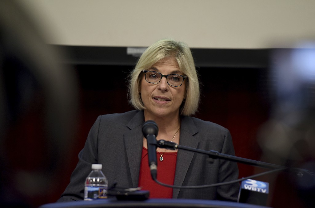 Mecklenburg County Manager Dena Diorio speaks at a news conference at the Government Center about the hacking of Mecklenburg County's servers in Charl