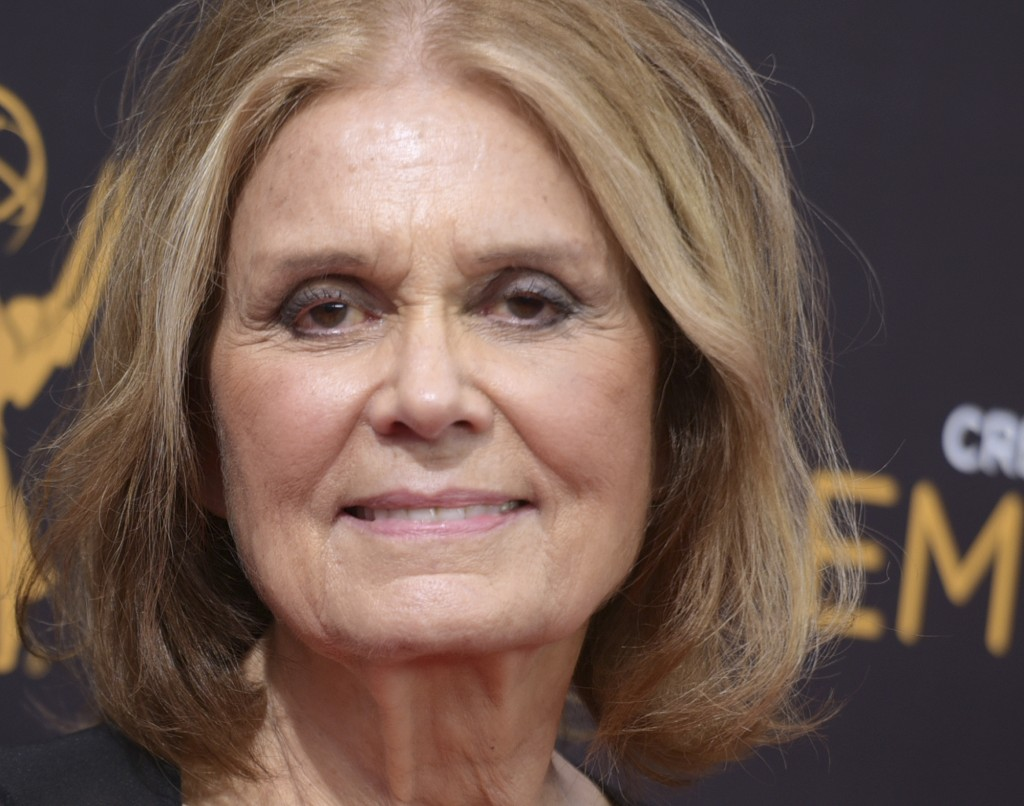FILE - In this Sept. 11, 2016 file photo, Gloria Steinem arrives at night two of the Creative Arts Emmy Awards at the Microsoft Theater in Los Angeles