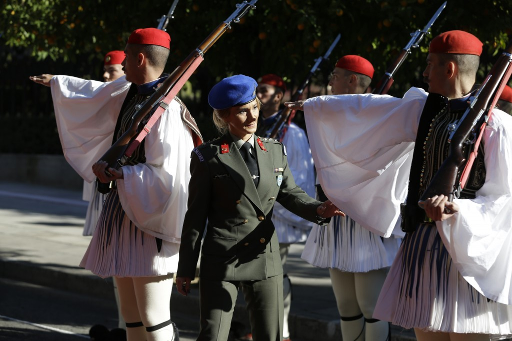 A Greek Presidential Guard officer inspects the evzones prior to the official welcome ceremony for Turkey's President Recep Tayyip Erdogan, in Athens,