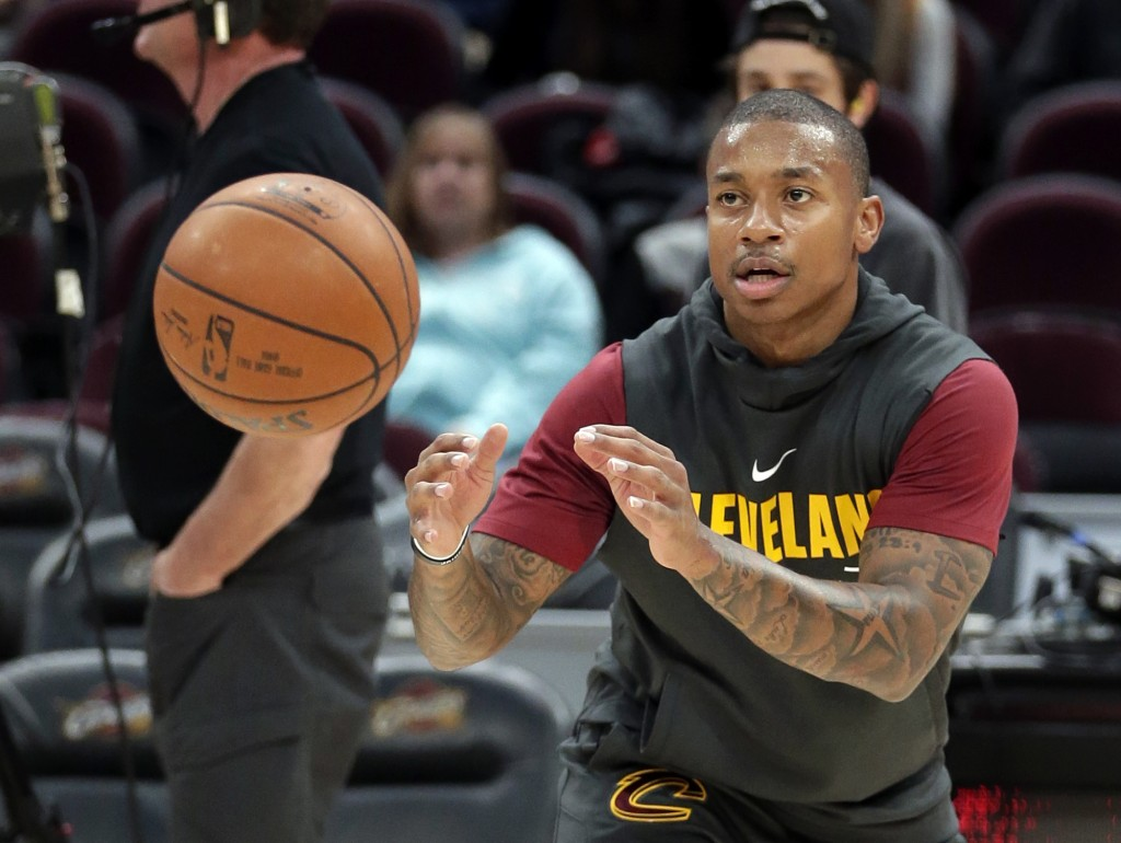 FILE - In this Nov. 22, 2017, file photo, Cleveland Cavaliers' Isaiah Thomas catches a pass before the team's NBA basketball game against the Brooklyn