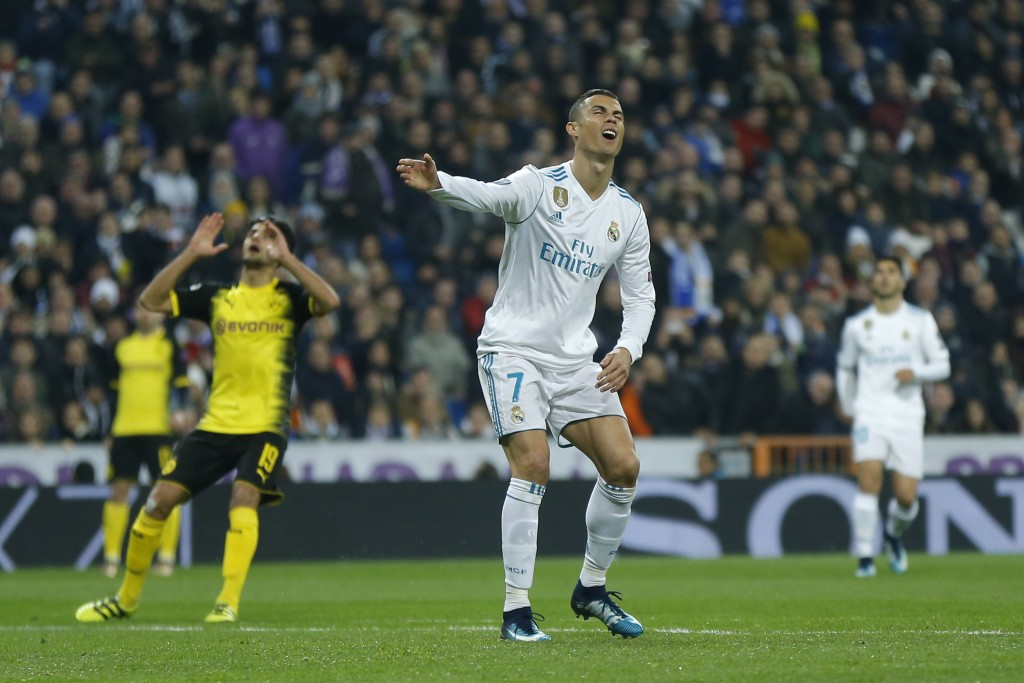 Real Madrid's Cristiano Ronaldo reacts during the Champions League Group H soccer match between Real Madrid and Borussia Dortmund at the Santiago Bern