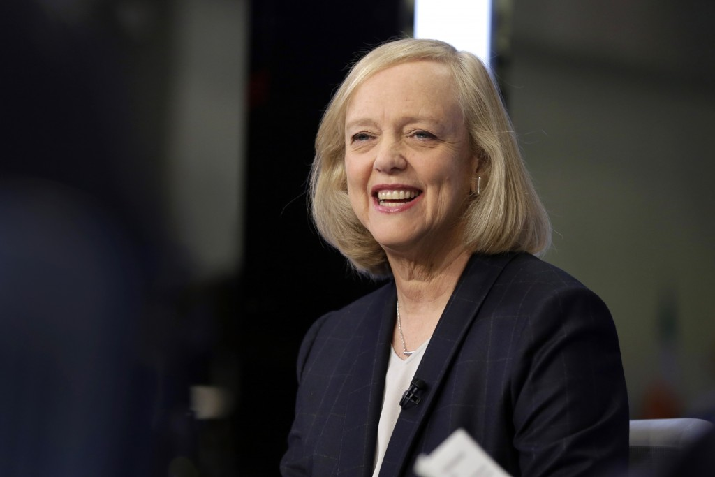FILE - In this Nov. 2, 2015 file photo, Hewlett Packard Enterprise President and CEO Meg Whitman is interviewed on the floor of the New York Stock Exc