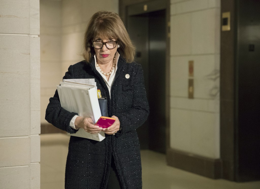 Rep. Jackie Speier, D-Calif., a member of the House Intelligence Committee, heads to a closed-door session with the president's oldest son, Donald Tru