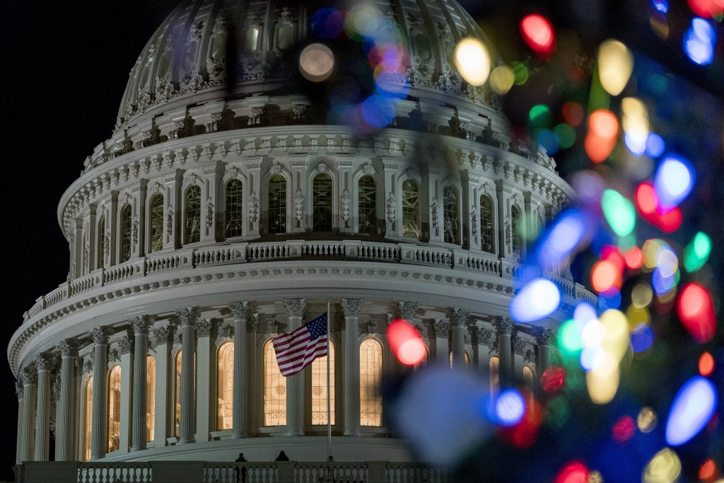 The 2017 Capitol Christmas Tree is lit on the West Lawn of the U.S. Capitol, Wednesday, Dec. 6, 2017, in Washington. The Capitol Christmas Tree has be