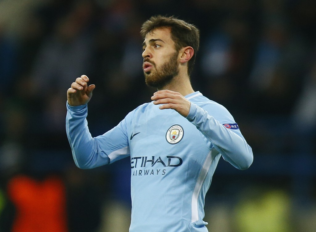 Manchester City's Bernardo Silva reacts during the Champions League group F soccer match between Manchester City and Shakhtar Donetsk at the Metalist
