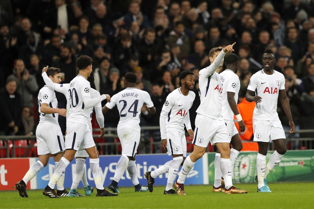 Tottenham's players celebrated a goal against APOEL during the Champions League Group H soccer match between Tottenham and APOEL Nicosia in London, We