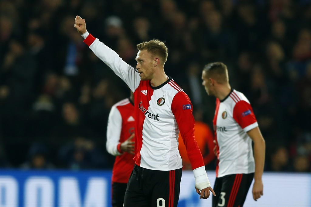 Feyenoord's Nicolai Jorgensen celebrates after scoring his side's first goal during a Champions League Group F soccer match between Feyenoord and Napo