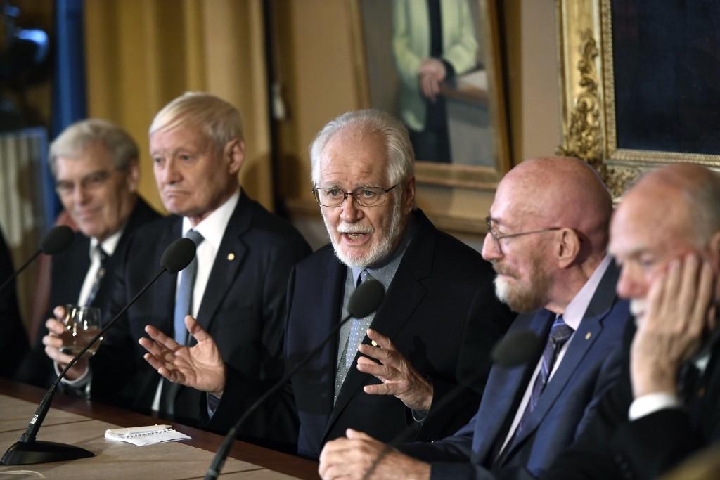 From left, Richard Henderson, Nobel Laureate in Chemistry, Joachim Frank, Nobel Laureate in Chemistry, Jacques Dubochet, Nobel Laureate in Chemistry,