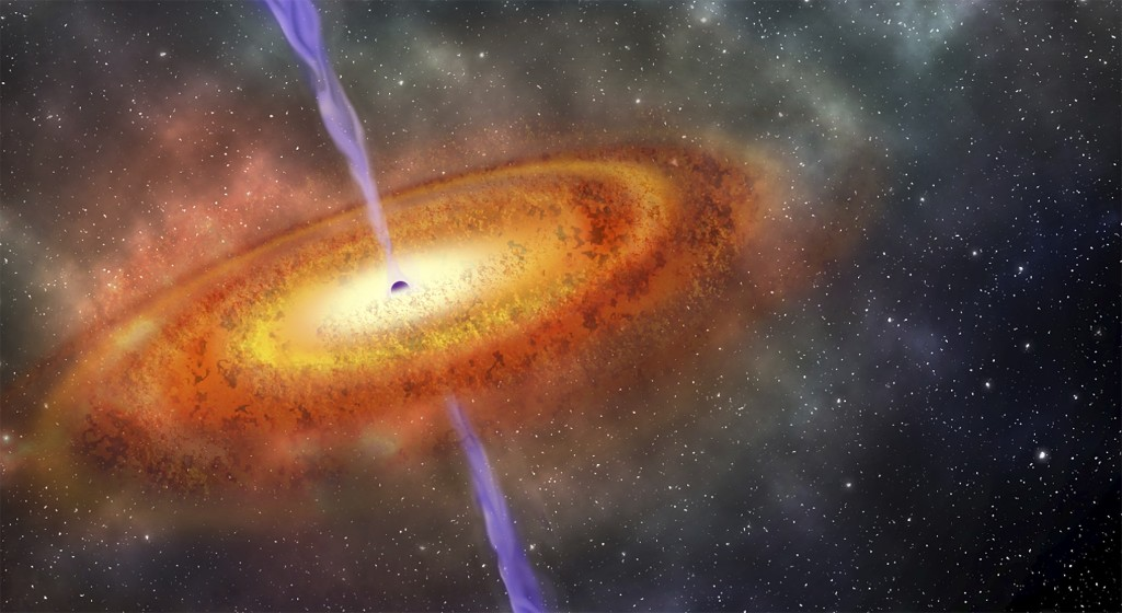 This illustration provided by the Carnegie Institution for Science shows the most-distant supermassive black hole ever discovered, which is part of a