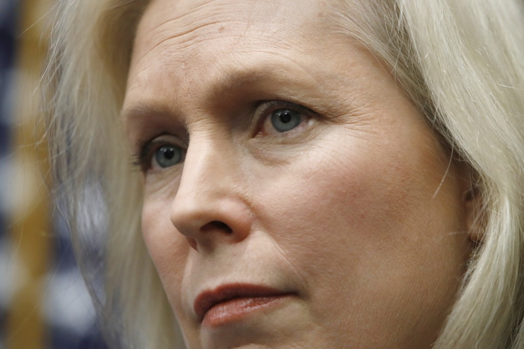 Sen. Kirsten Gillibrand, D-N.Y., listens during a news conference on sexual harassment, Wednesday, Dec. 6, 2017, on Capitol Hill in Washington. Sen. A