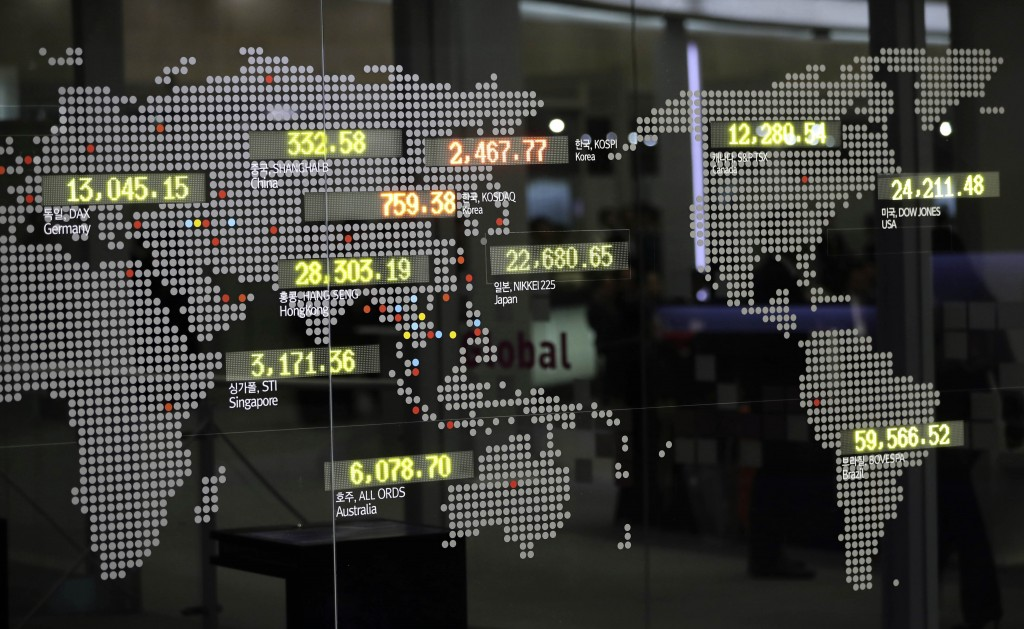 An electronic board shows benchmark indexes of the global markets at the Korea Exchange in Seoul, South Korea, Friday, Dec. 8, 2017. Asian share index