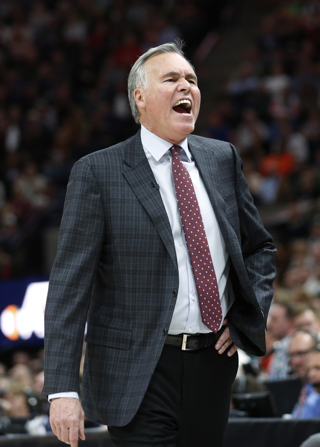 Houston Rockets coach Mike D'Antoni shouts to his team during the first half of an NBA basketball game against the Utah Jazz on Thursday, Dec. 7, 2017