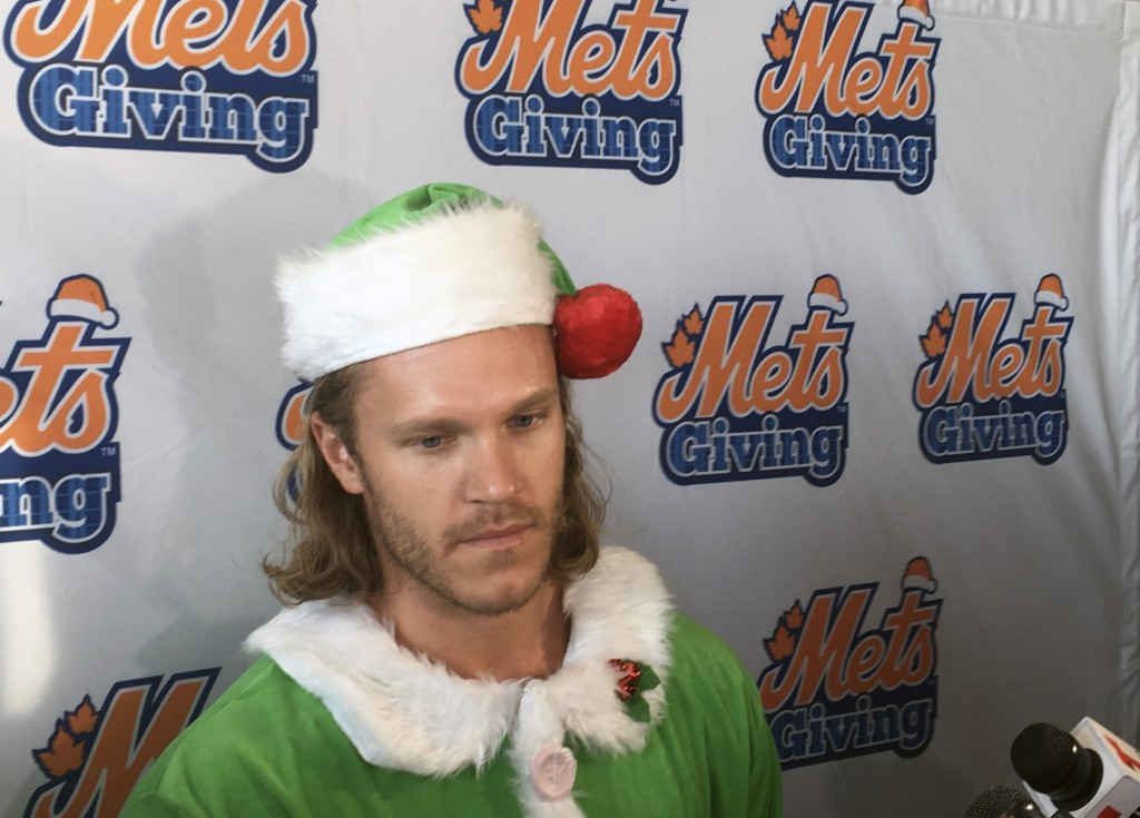 New York Mets baseball player Noah Syndergaard speaks to the the media during the Mets annual Kids Holiday Party at Citi Fielk in New York, Thursday,