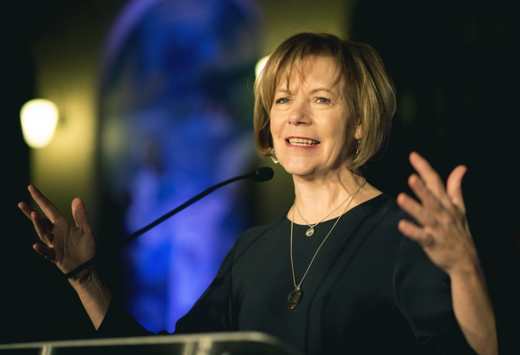 FILE - In this Jan. 10, 2015, file photo, Minnesota Lt. Gov. Tina Smith speaks in St. Paul, Minn. Smith is a possible replacement to fill U.S. Sen. Al