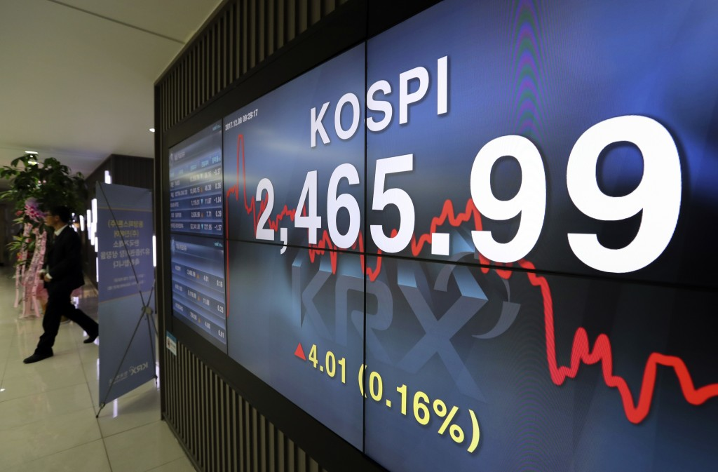 A man walks by the screen showing the Korea Composite Stock Price Index (KOSPI) at the Korea Exchange in Seoul, South Korea, Friday, Dec. 8, 2017. Asi