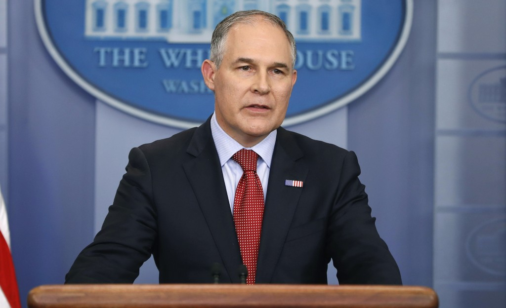 FILE - In this June 2, 2017 file photo, EPA Administrator Scott Pruitt speaks in the Brady Press Briefing Room of the White House in Washington. Pruit