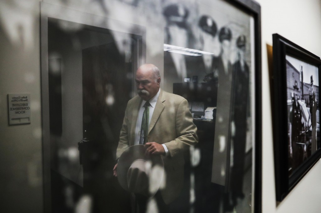 In this Nov. 14, 2017, photo, Butler County Sheriff Richard Jones walks into an conference room for an interview at his offices, Tuesday, Nov. 14, 201...