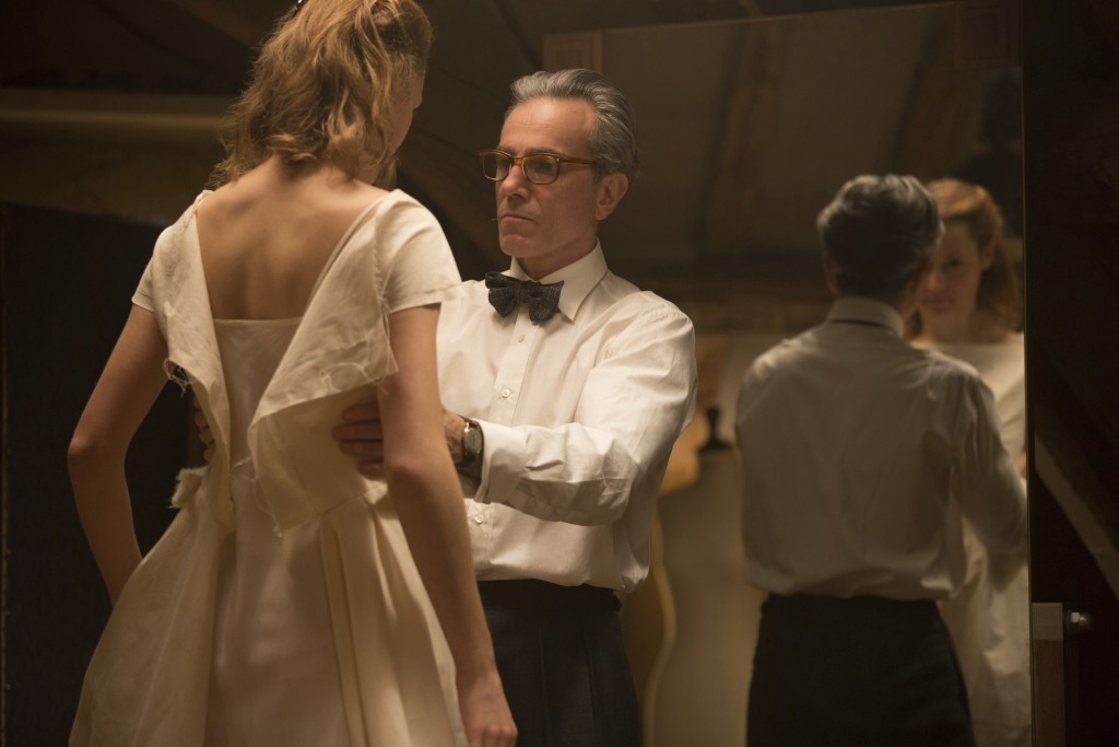 """In this image released by Focus Features, Vicky Krieps, left, and Daniel Day-Lewis appear in a scene from """"Phantom Thread."""" (Laurie Sparham/Focus Feat..."""