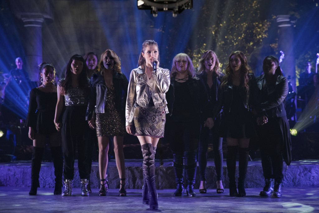 """This image released by Universal Pictures shows Anna Kendrick, center, in a scene from """"Pitch Perfect 3."""" (Quantrell D. Colbert/Universal Pictures via..."""