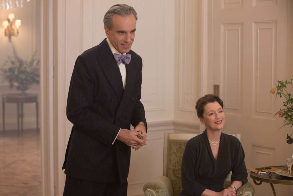 """In this image released by Focus Features, Daniel Day-Lewis, left, and Lesley Manville appear in a scene from """"Phantom Thread.""""  (Laurie Sparham/Focus ..."""