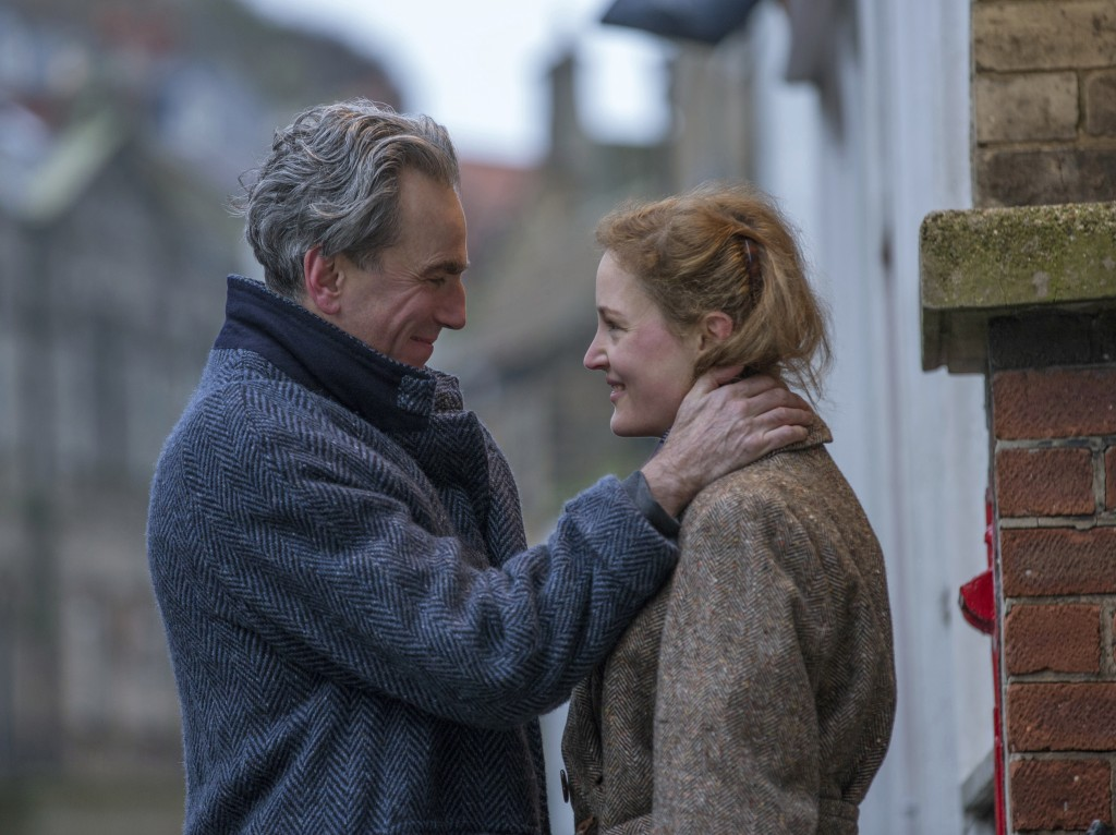 """In this image released by Focus Features, Daniel Day-Lewis, left, and Vicky Krieps appear in a scene from """"Phantom Thread.""""  (Laurie Sparham/Focus Fea..."""