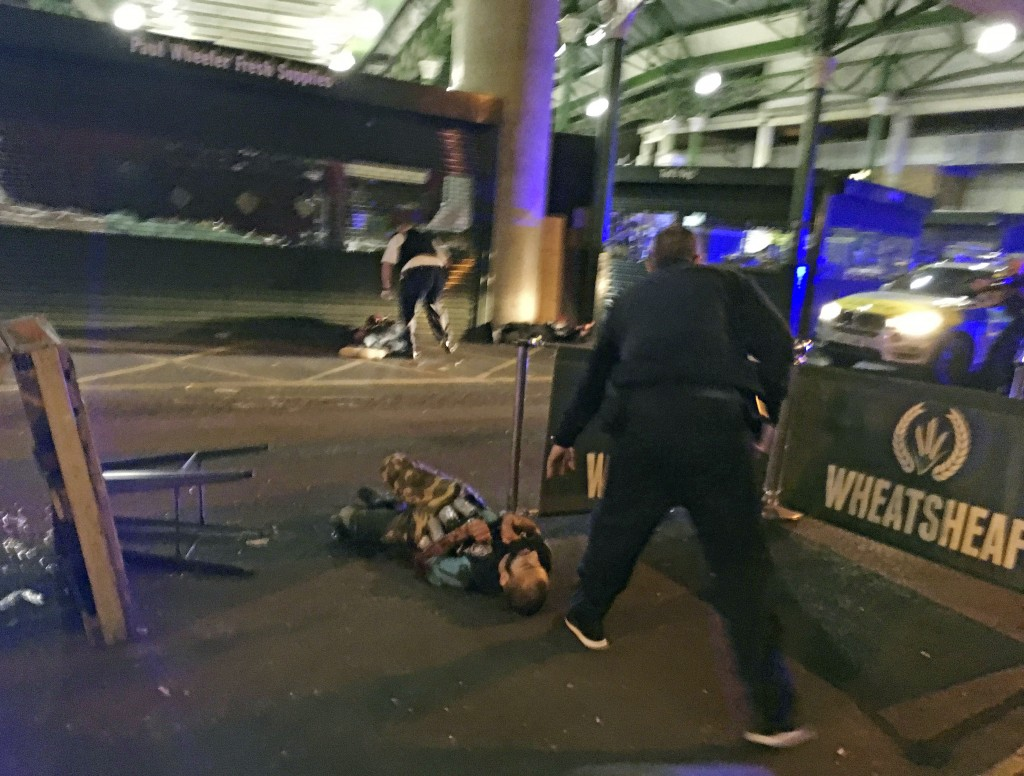 FILE - In this image provided by Gabriele Sciotto taken on Saturday, June 3, 2017, one of the suspects from the London Bridge attack, wearing what app...
