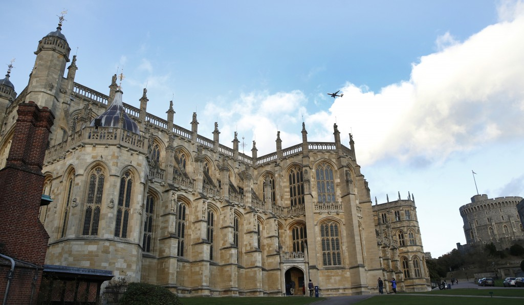 FILE - This Nov. 28, 2017, file photo, shows a general view of St George's Chapel within the walls of of Windsor Castle, in Windsor, England. U.S. vis...