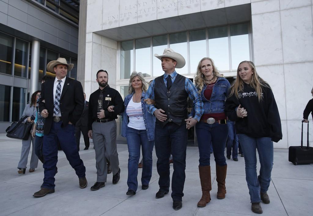 "From left, Ammon Bundy, Ryan Payne, Jeanette Finicum, widow of Robert ""LaVoy"" Finicum, Ryan Bundy, Angela Bundy, wife of Ryan Bundy and Jamie Bundy, d..."