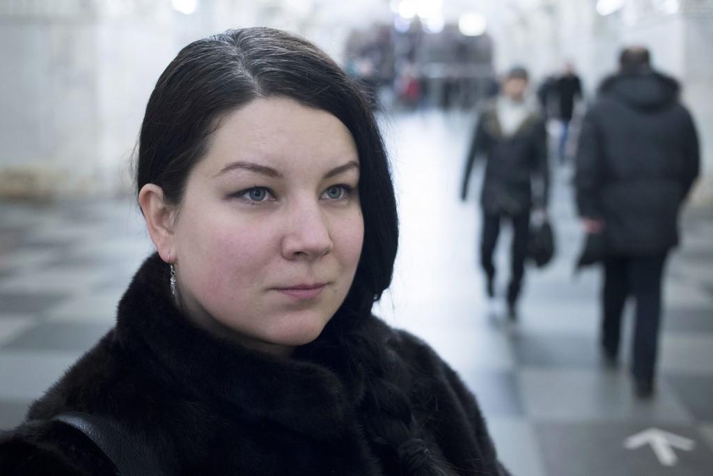 Journalist Ekaterina Vinokurova poses for a photo in the metro in Moscow, Russia, on Wednesday, Dec. 20, 2017. Vinokurova, one of at least 200 journal...