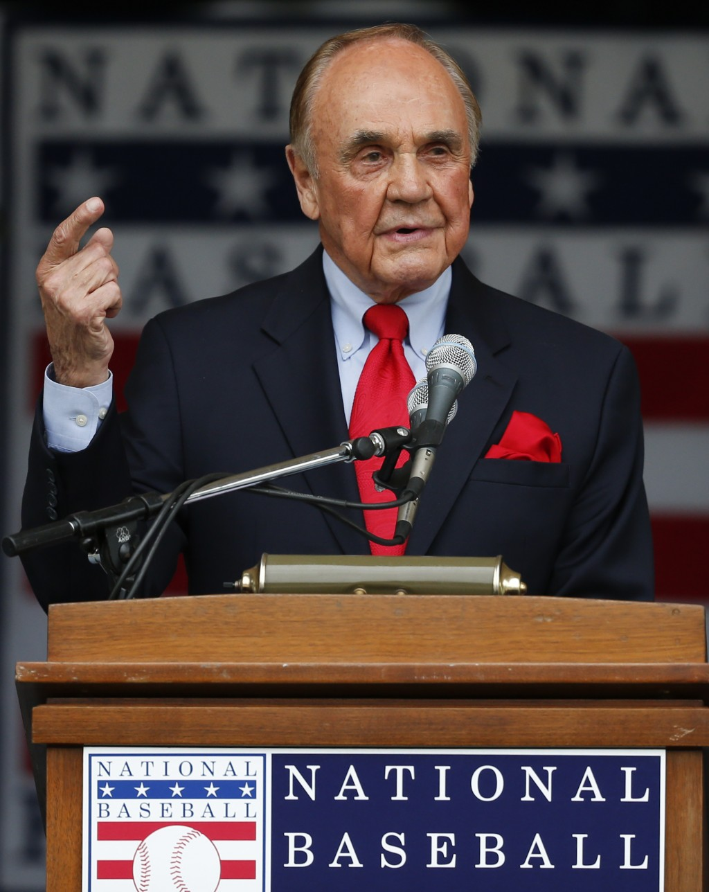 FILE - In this July 25, 2015, file photo, Dick Enberg speaks after receiving the Ford C. Frick Award during a ceremony at Doubleday Field in Coopersto...