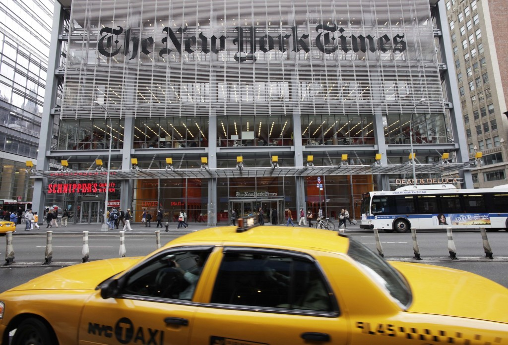 FILE - This Tuesday, Oct. 18, 2011 file photo shows the New York Times building in New York. Two people familiar with the matter said private research...