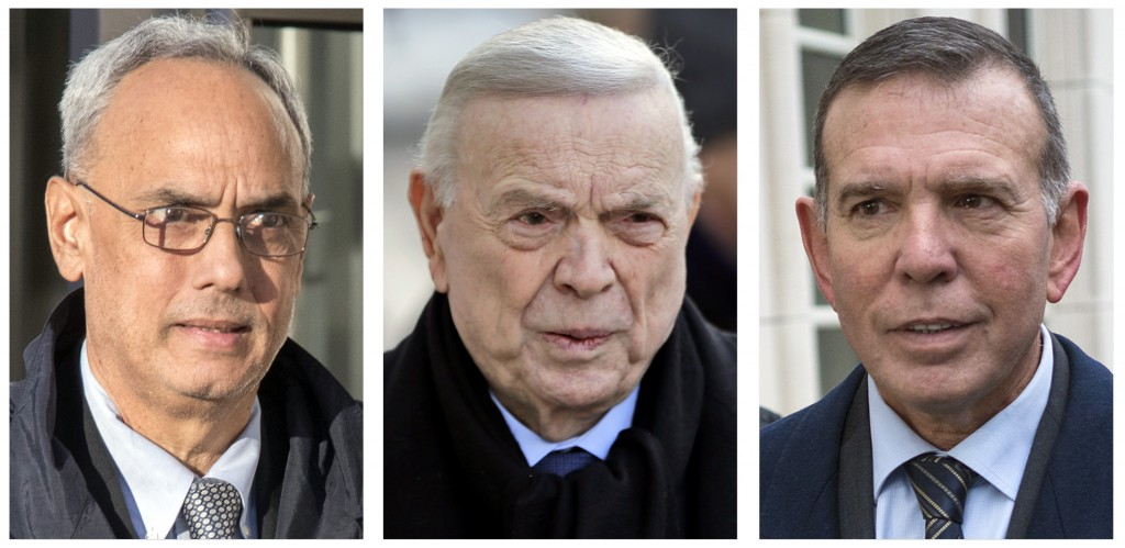 FILE - In these 2017 file photo, three former South American soccer officials, from left, Manuel Burga, of Peru; Jose Maria Marin, of Brazil; and Juan...