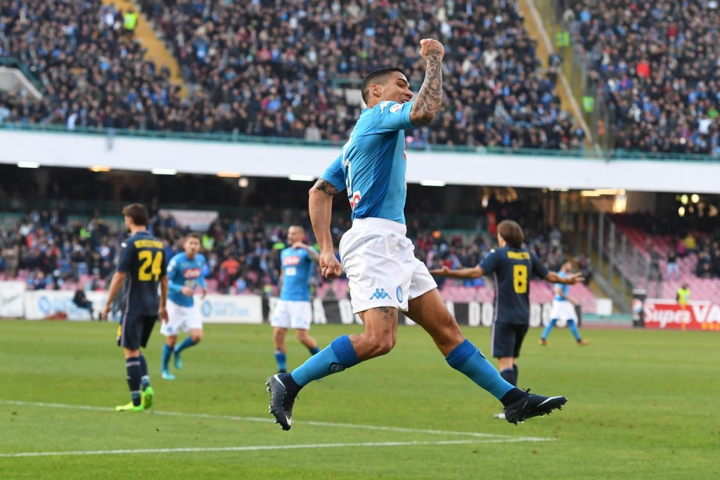Napoli's Allan celebrates after scoring during a Serie A soccer match between Napoli and Sampdoria at the San Paolo stadium in Naples, Italy, Saturday...