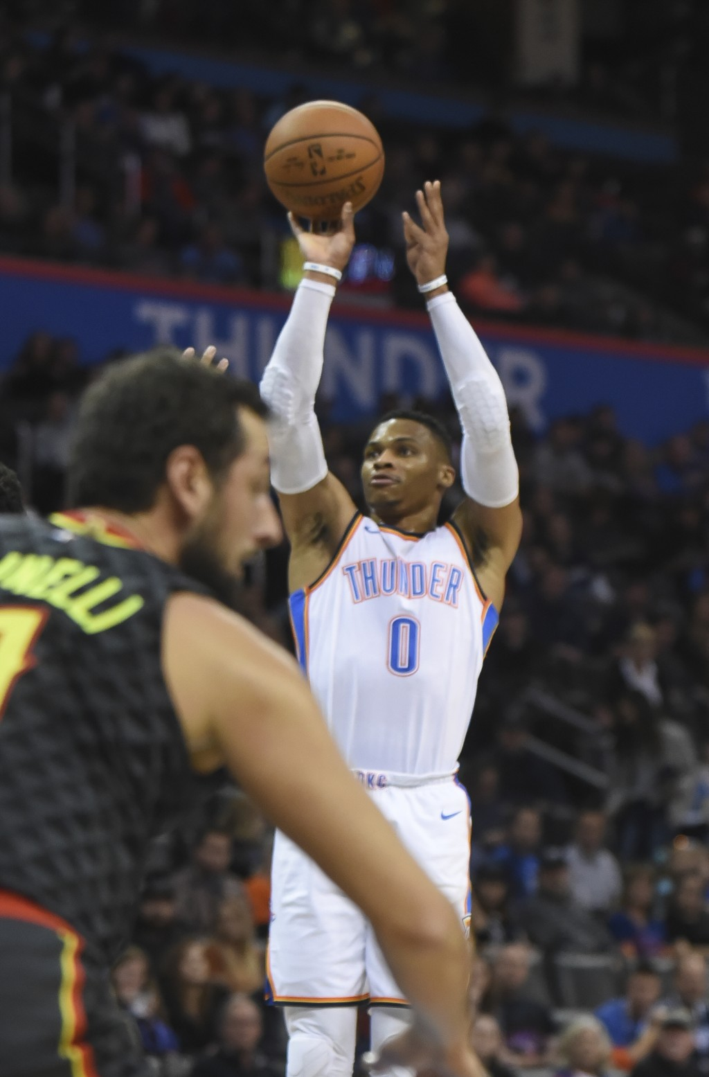 Oklahoma City Thunder's Russell Westbrook (0) shoots in the first quarter of an NBA basketball game against the Atlanta Hawks in Oklahoma City, Friday...