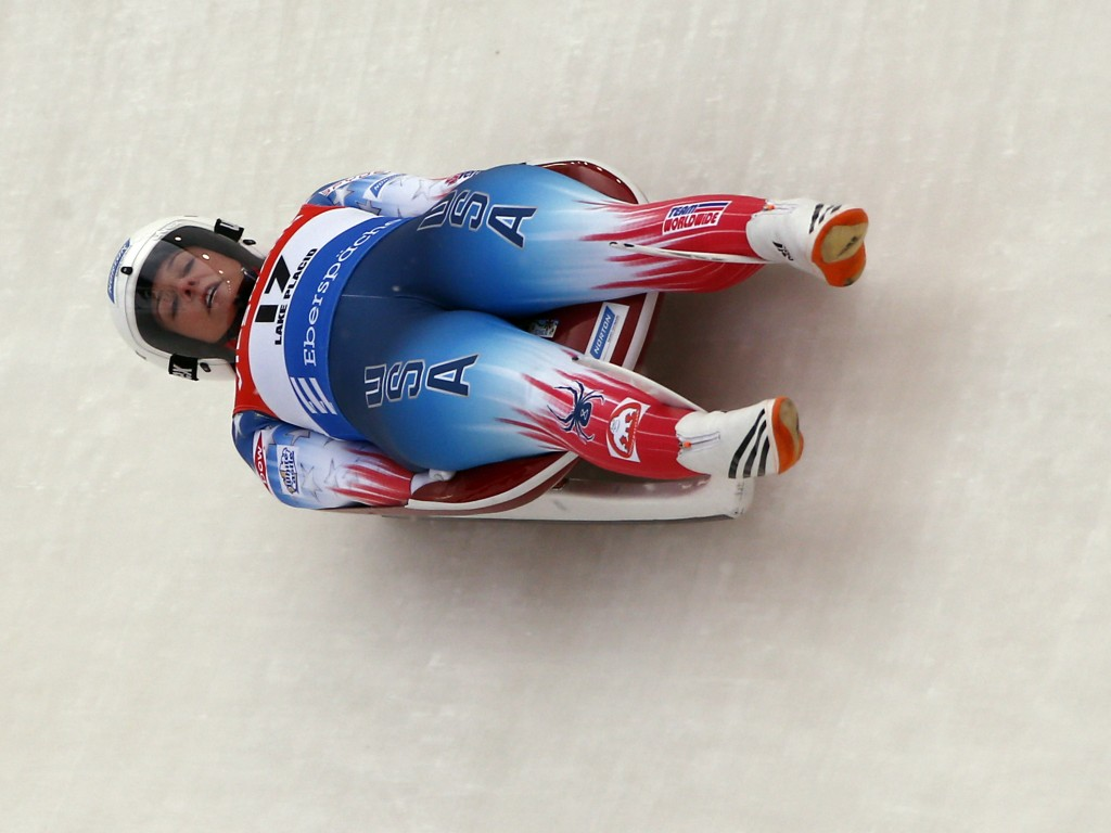 FILE - In this Dec. 16, 2017, file photo, Emily Sweeney, of the United States, takes a curve during a World Cup luge event in Lake Placid, N.Y. Sweene...