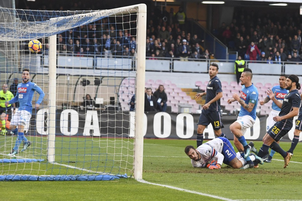 Napoli's Marek Hamsik, third from right, scores during a Serie A soccer match between Napoli and Sampdoria at the San Paolo stadium in Naples, Italy, ...