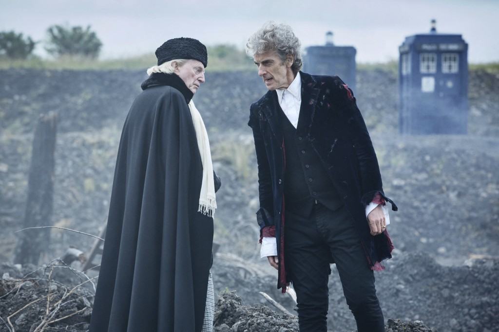 """In this undated handout photo, actors David Bradley and Peter Capaldi in a scene from the Christmas episode of the show """"Doctor Who"""". The global succe..."""