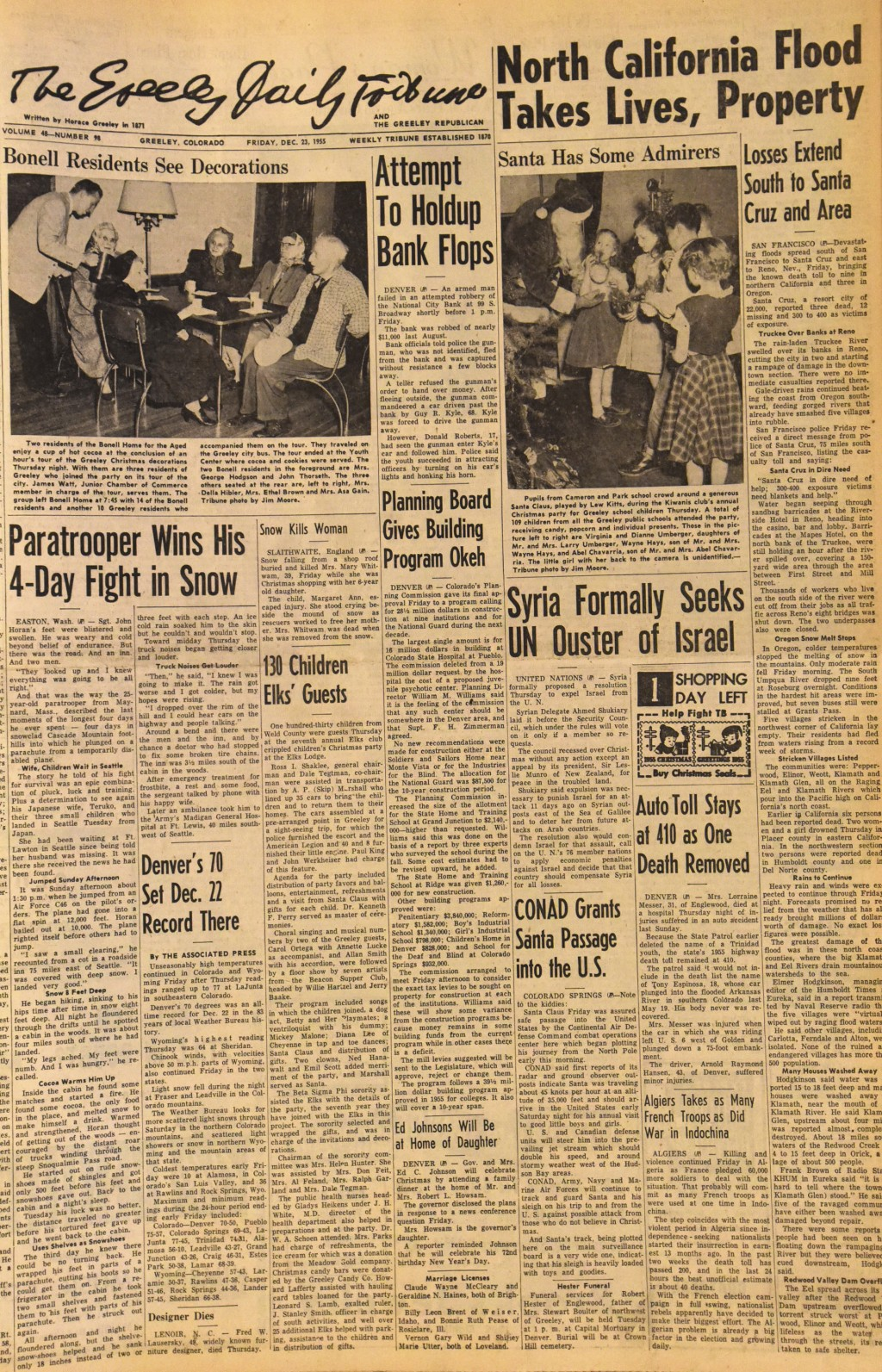 This photo of the front page of The Greeley Tribune in Greeley, Colorado., from Dec. 23, 1955, shows an Associated Press story about the Continental A...