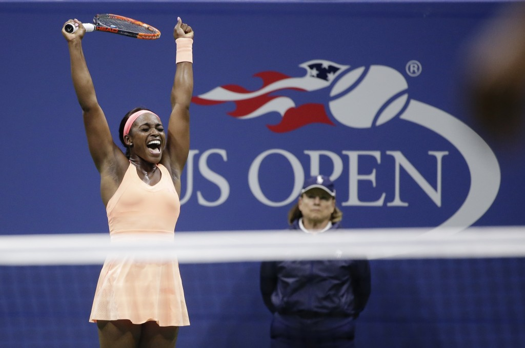 FILE - In this Sept. 7, 2017, file photo, Sloane Stephens, of the United States, reacts after defeating Venus Williams, of the United States, in the s...