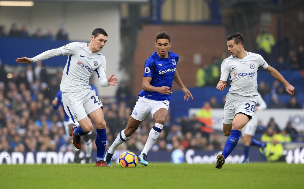 Chelsea's Andreas Christensen, left and Cesar Azpilicueta, right, challenge Everton's Dominic Calvert-Lewin for the ball, during the English Premier L...