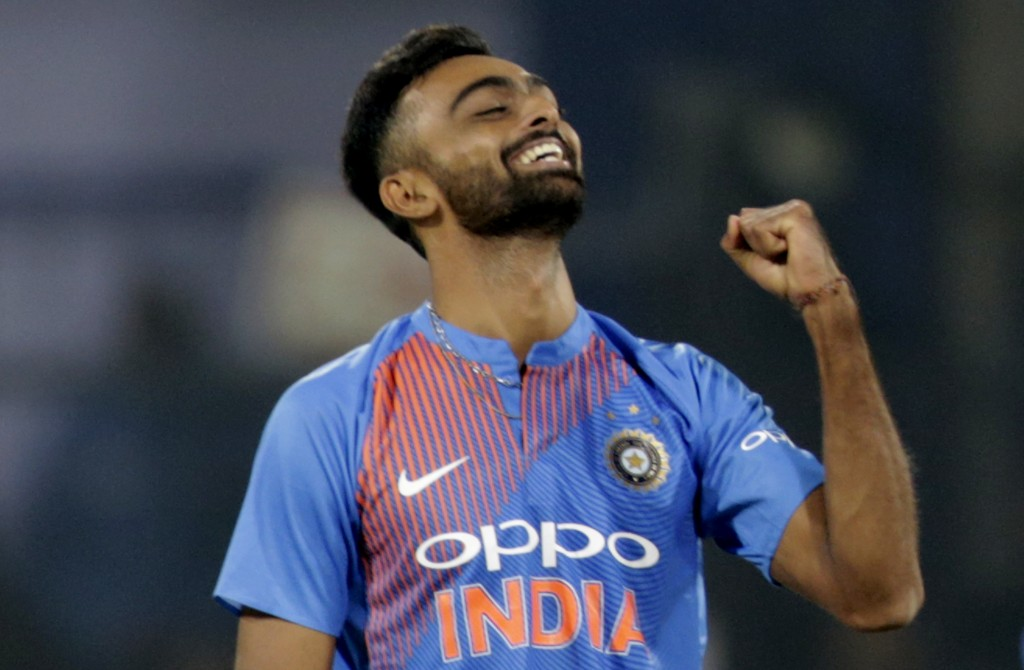 India's Jaydev Unadkat celebrates the dismissal of Sri Lanka's Niroshan Dickwella during their second Twenty20 international cricket match in Indore, ...