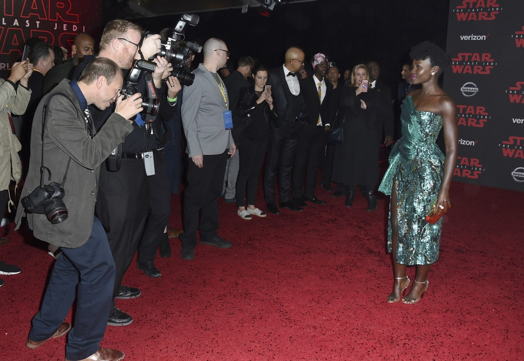 """FILE - In this Saturday, Dec. 9, 2017 file photo, Lupita Nyong'o arrives at the Los Angeles premiere of """"Star Wars: The Last Jedi"""" at the Shrine Audit..."""