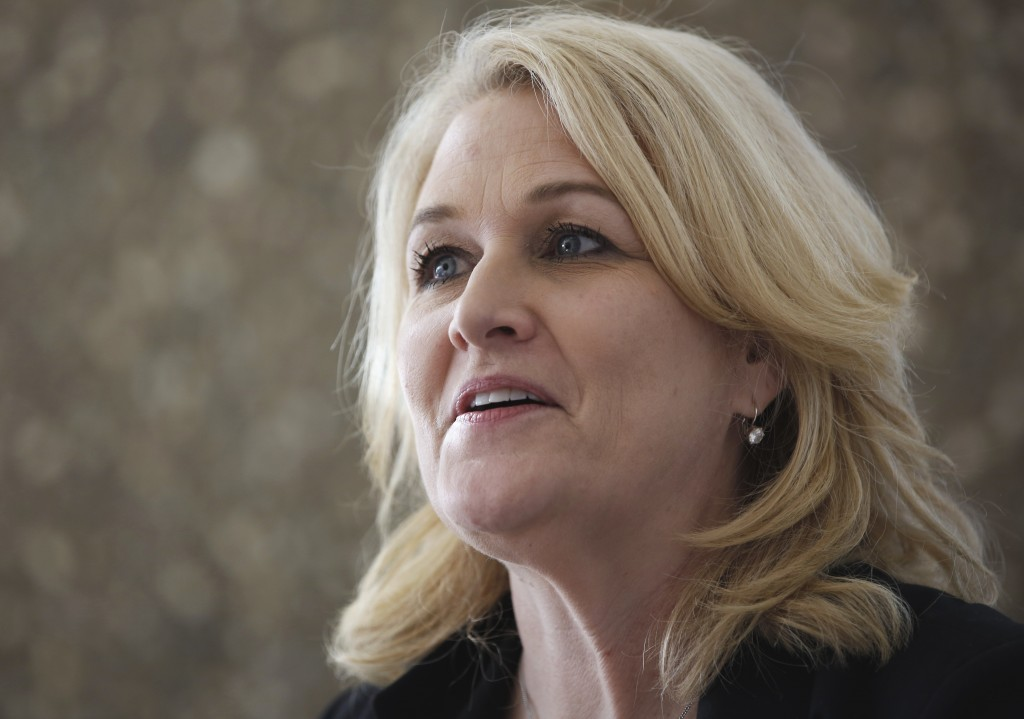 FILE- In this Jan. 19, 2017 file photo, Lori Ajax, chief of California's Bureau of Medical Cannabis Regulation, discusses her bureau's role during an ...